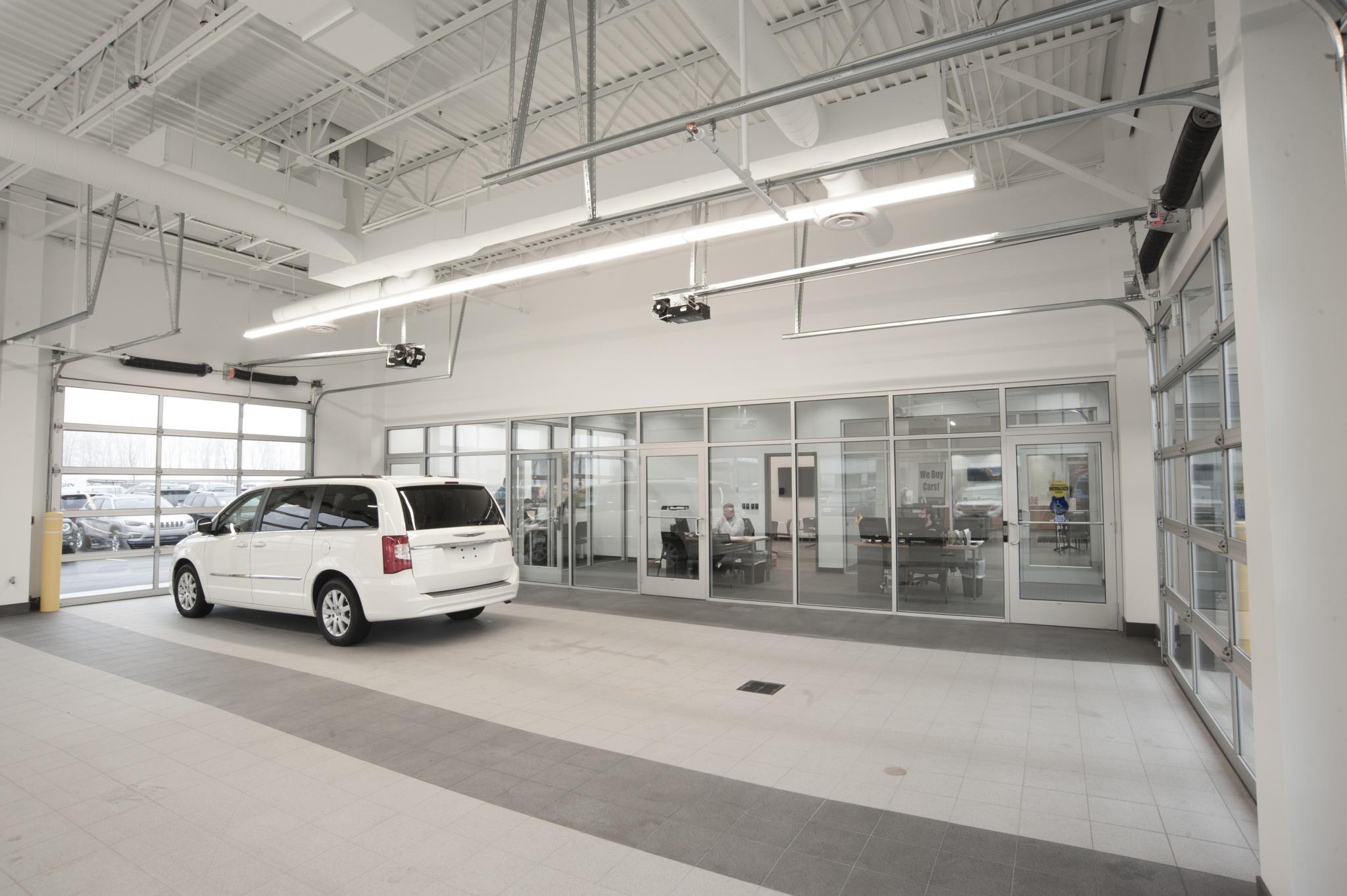 image of vehicle inside service center garage