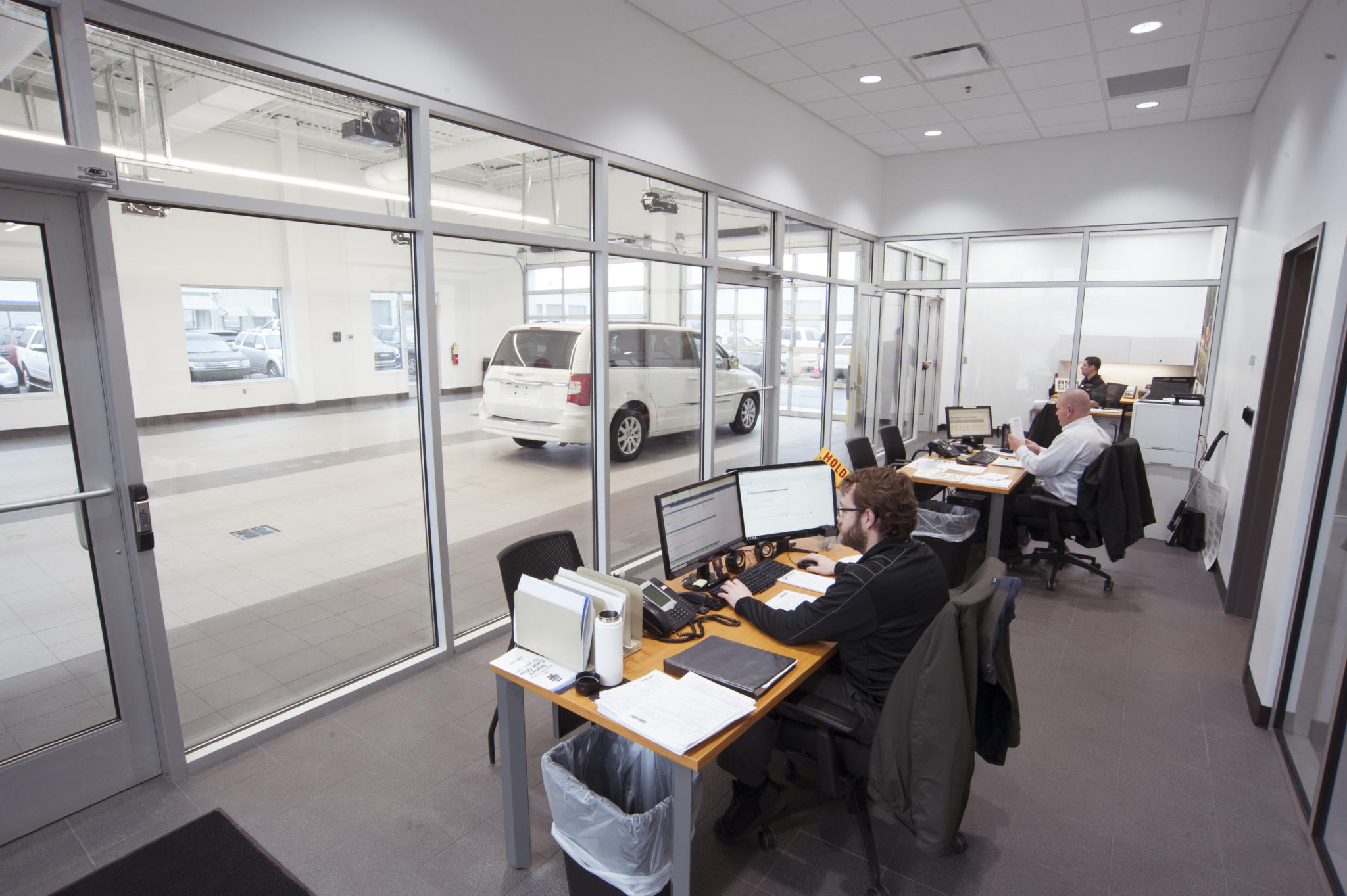image of office space at car service center garage