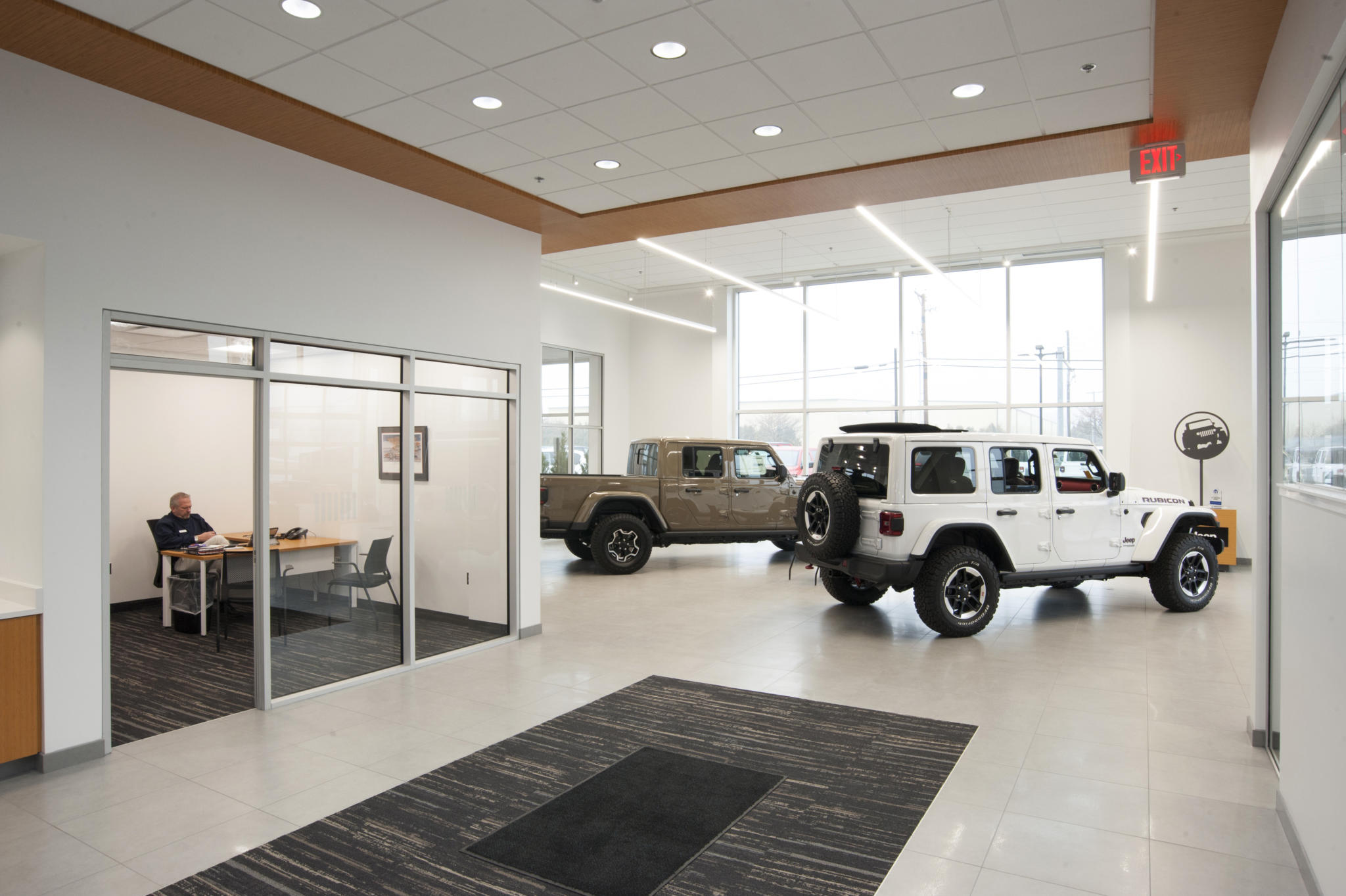 image of lobby with vehicles inside