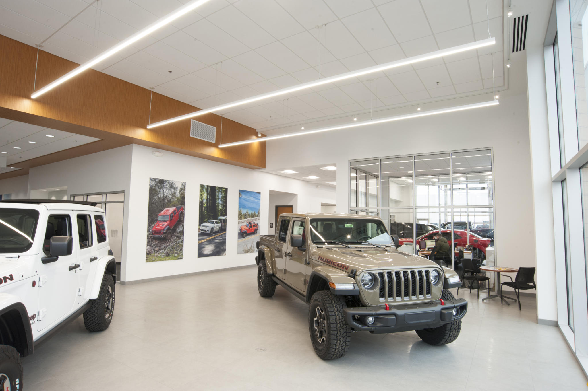 image of a lobby with vehicle inside of it at car dealership