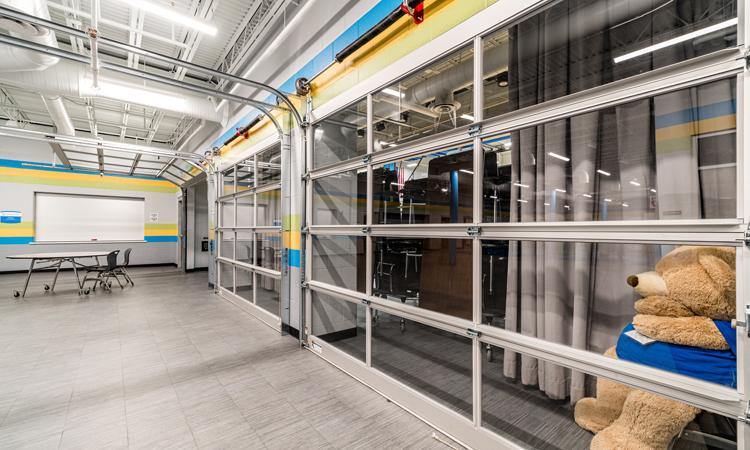 image of garage doors in cafeteria