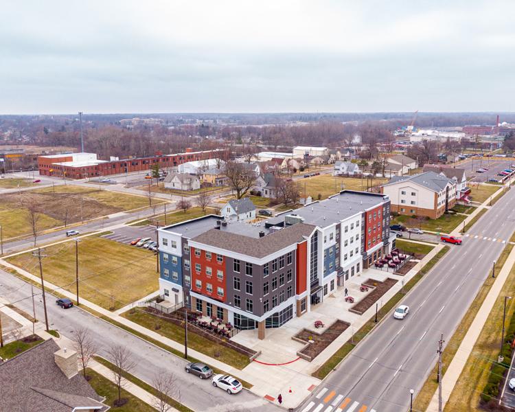 aerial image of apartment building