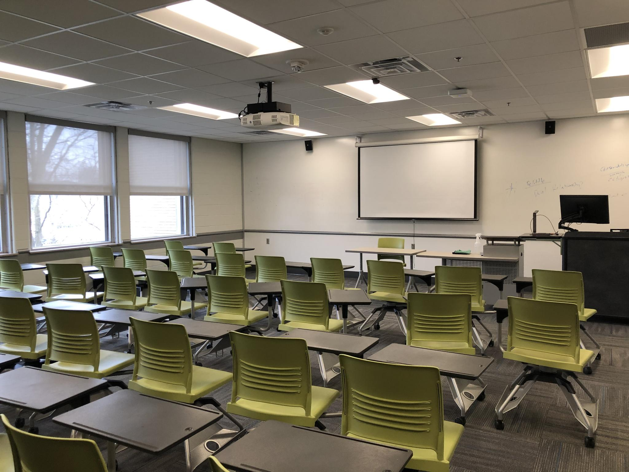photo of classroom with projection board