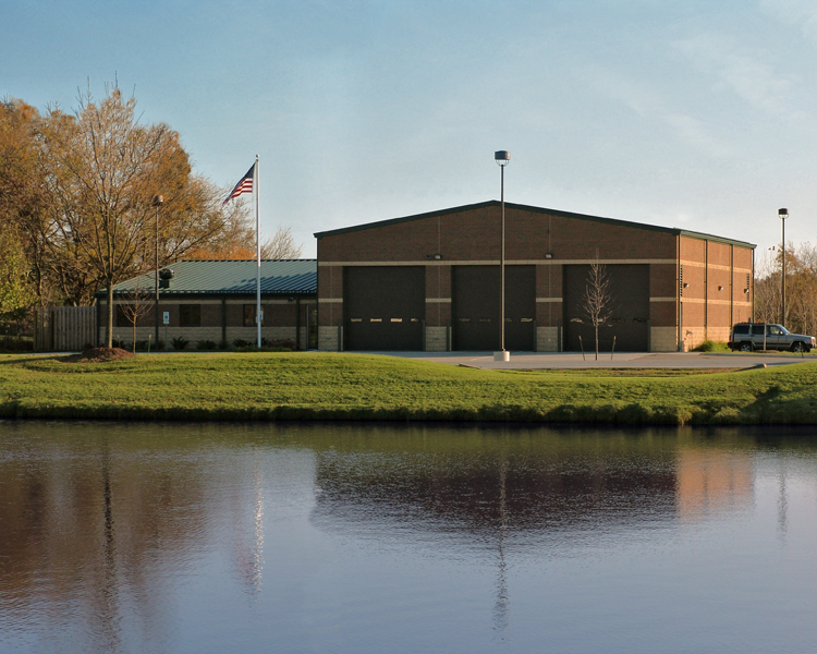 image of retention pond and fire station