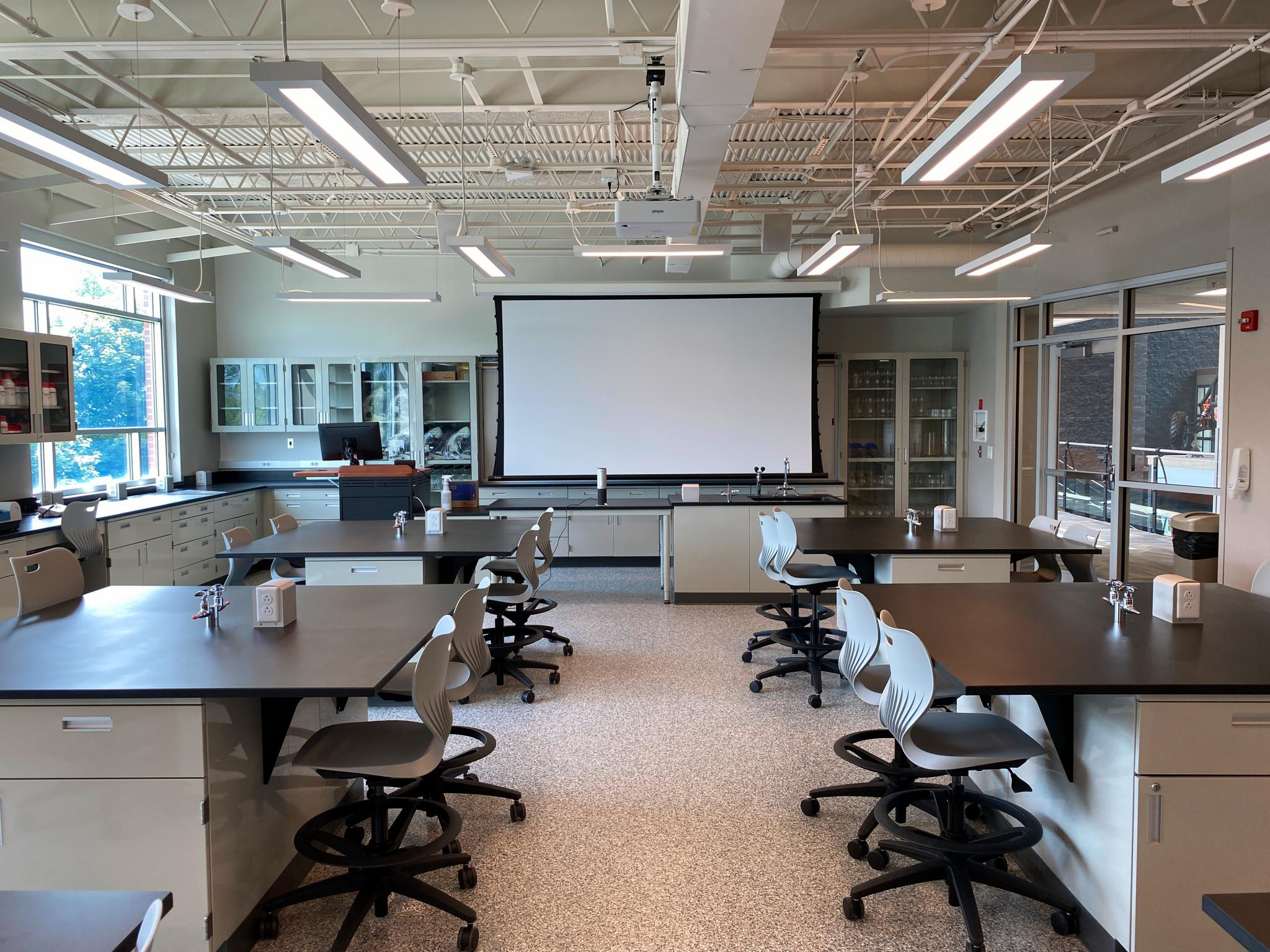 image of science lab with overhead project screen