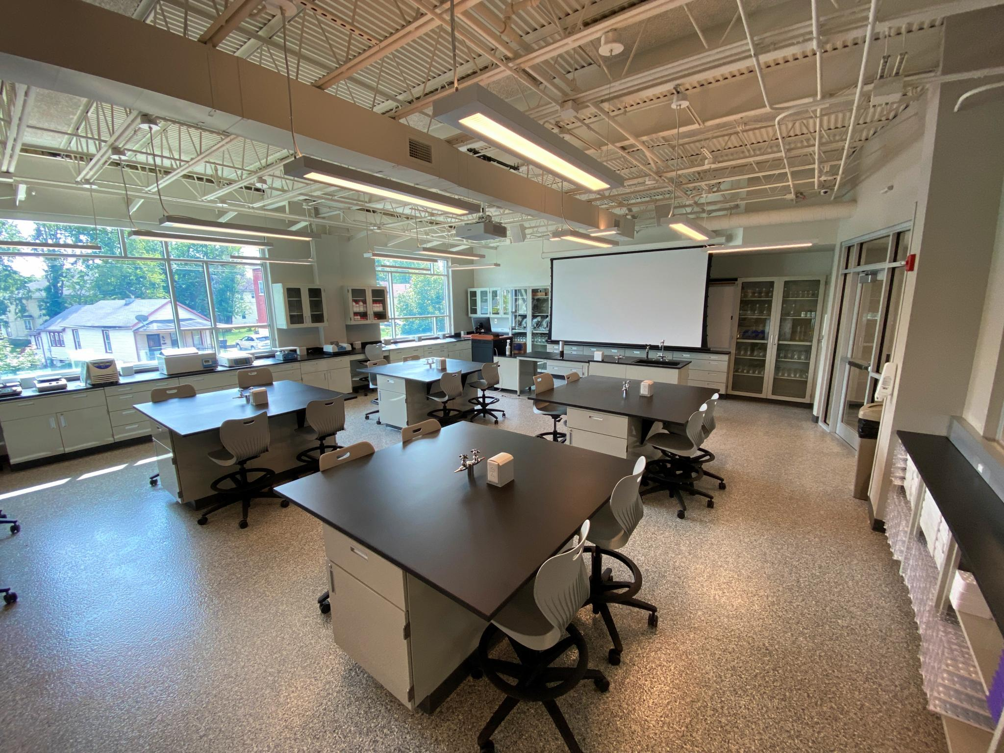 image of traditional science lab with counters
