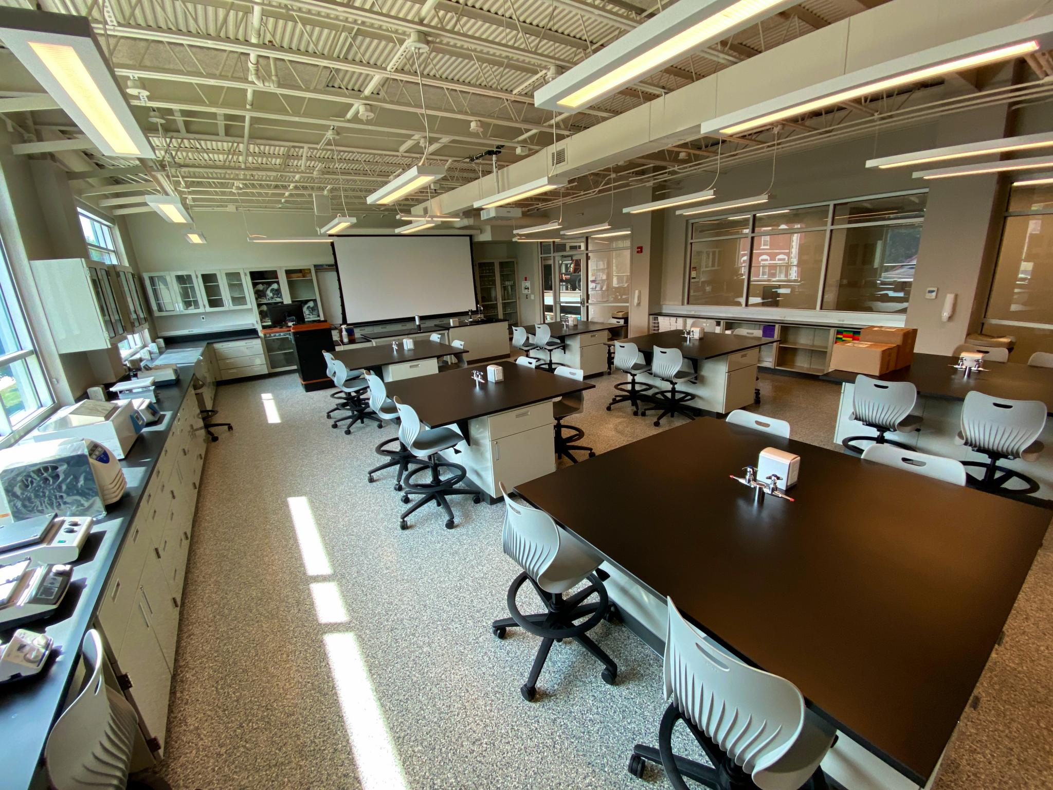 image of science lab space with countertops