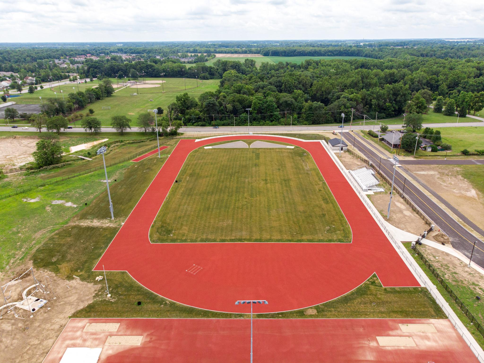 aerial image of a track & field event field