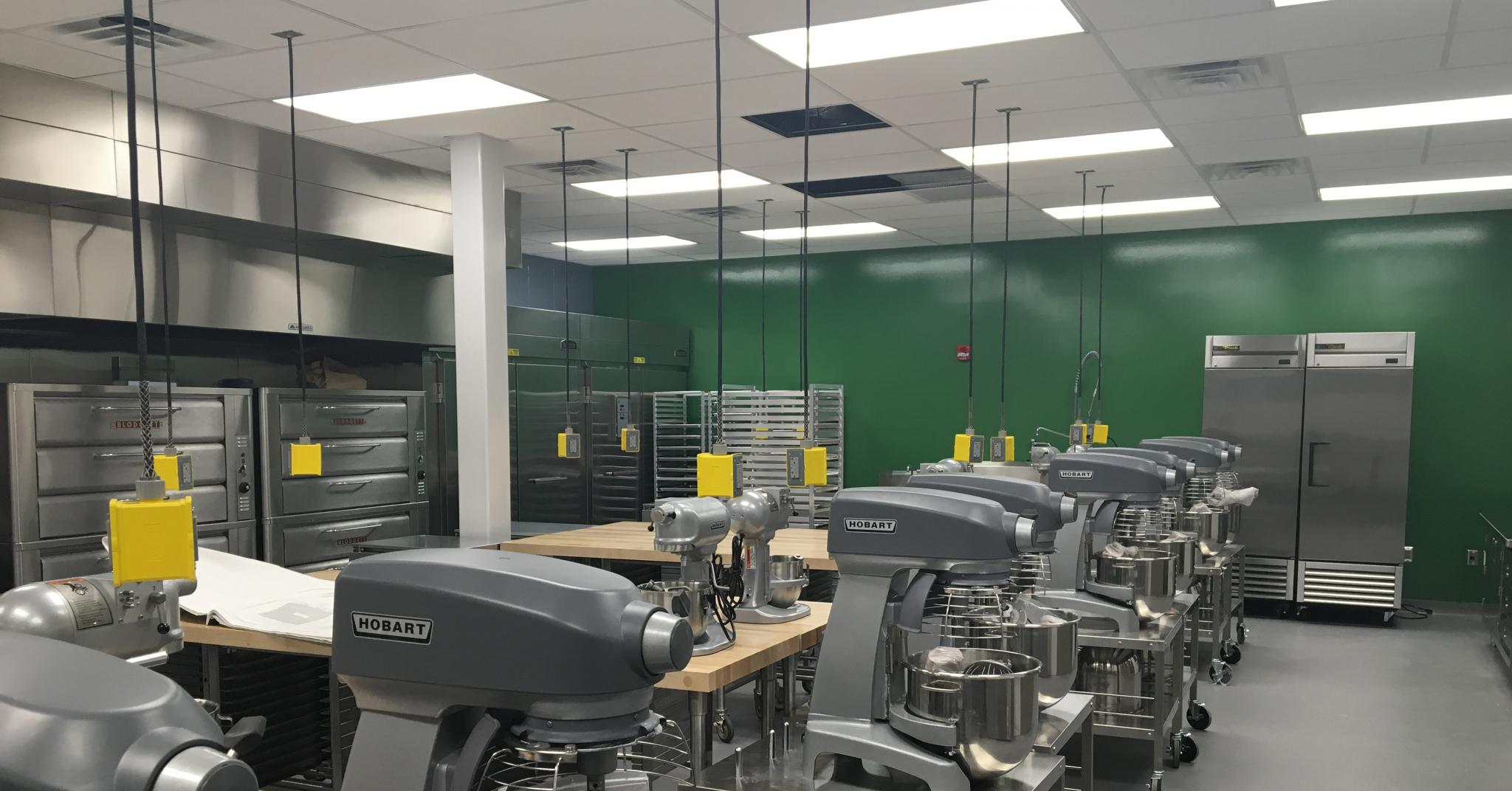 image of bakery equipment in a room with green walls