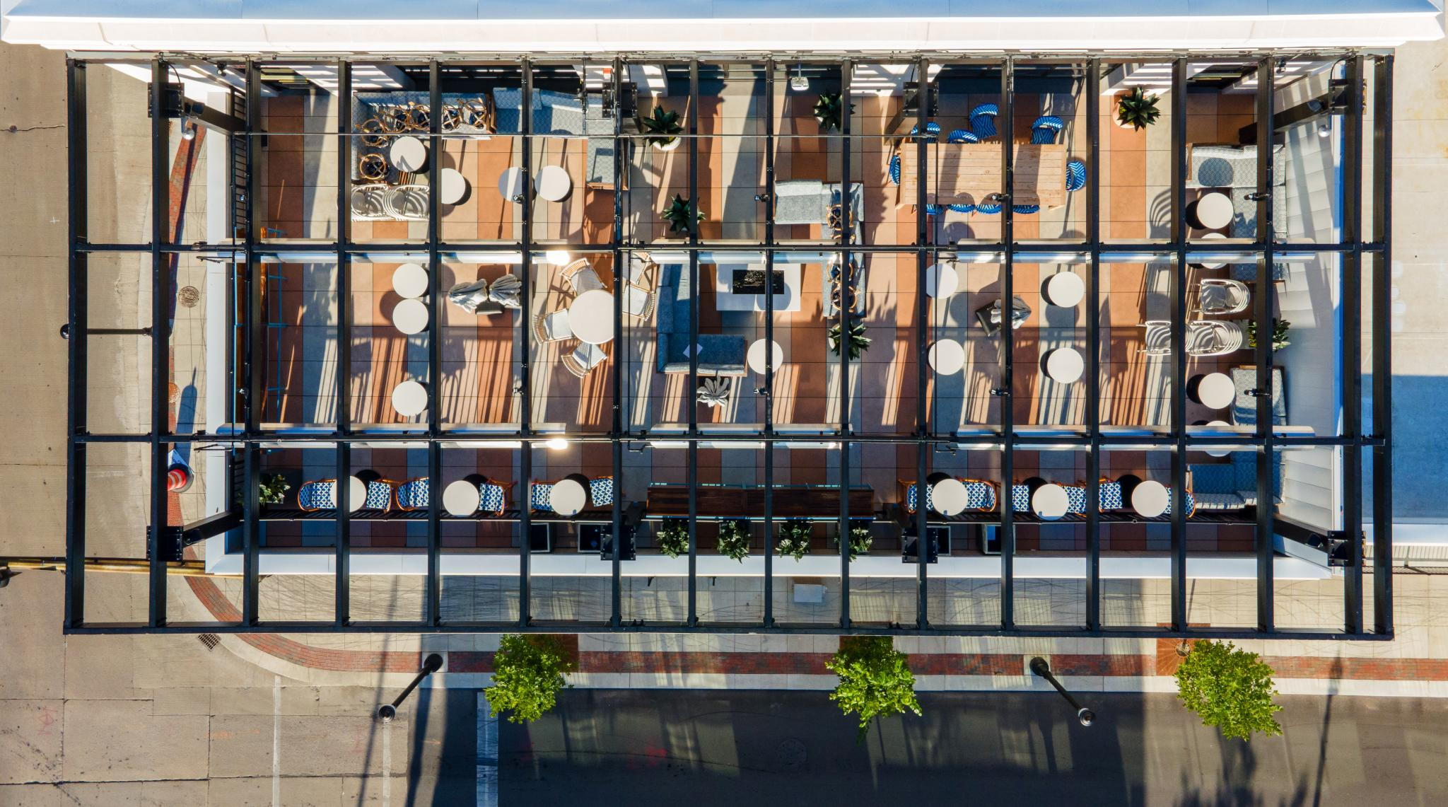an image of a bird's eye view of a patio space