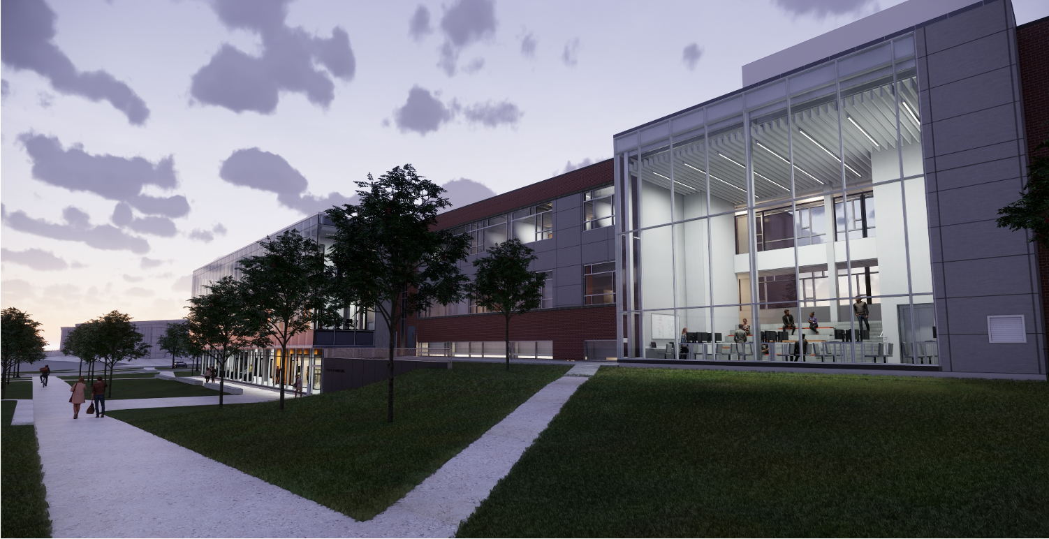 rendering image of a building at sunrise