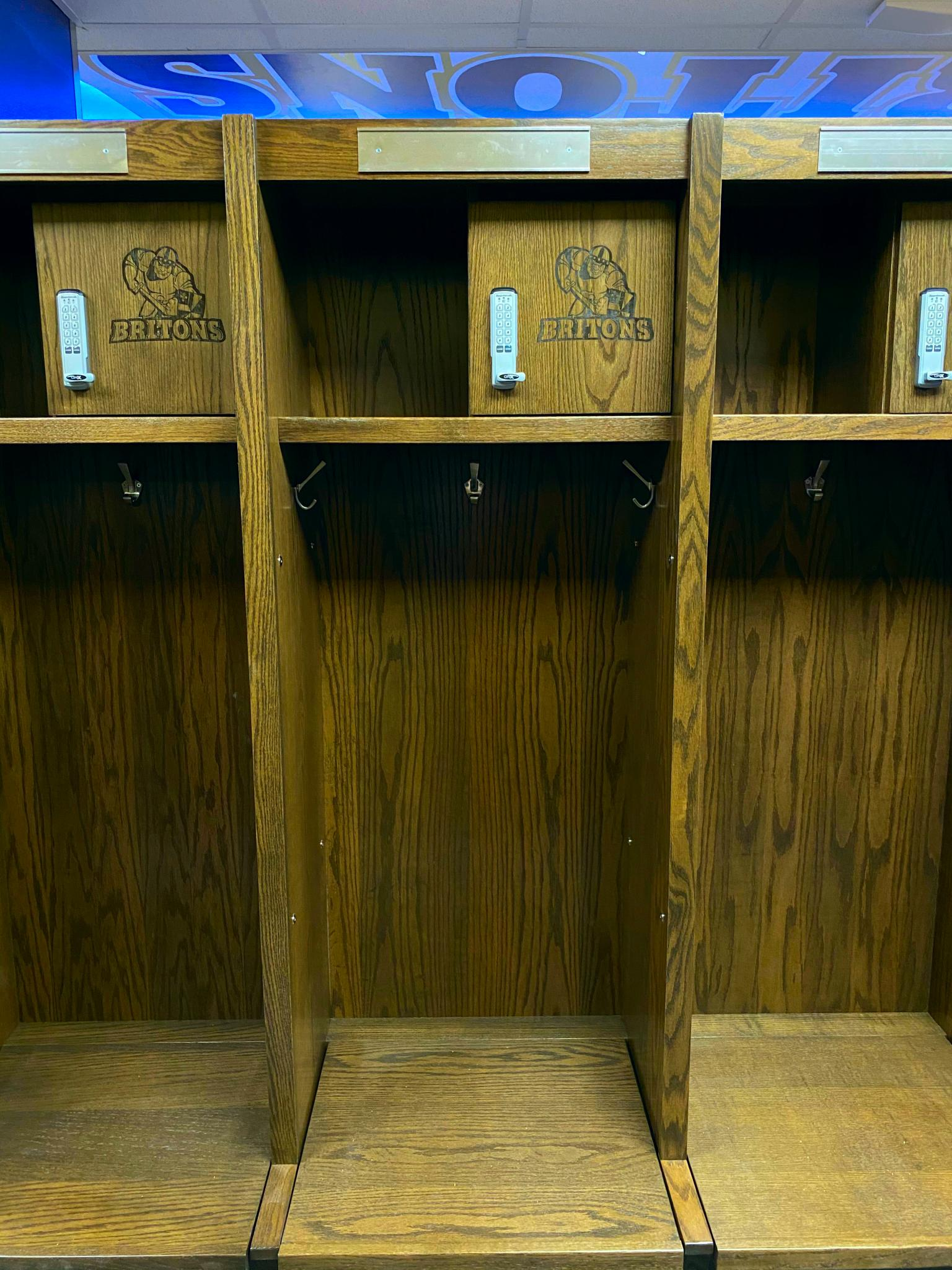 image of wooden lockers