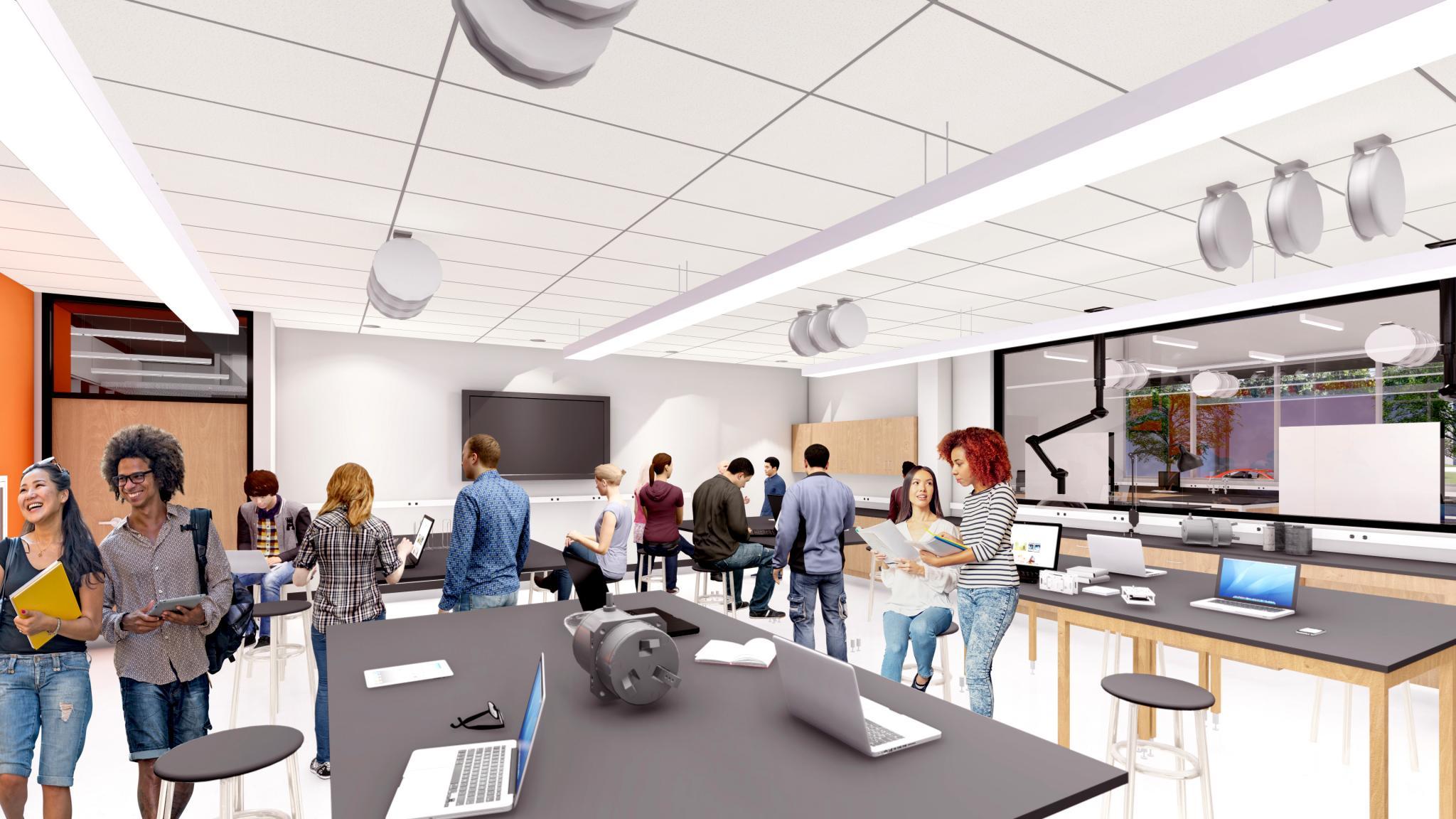 rendering of robotics lab