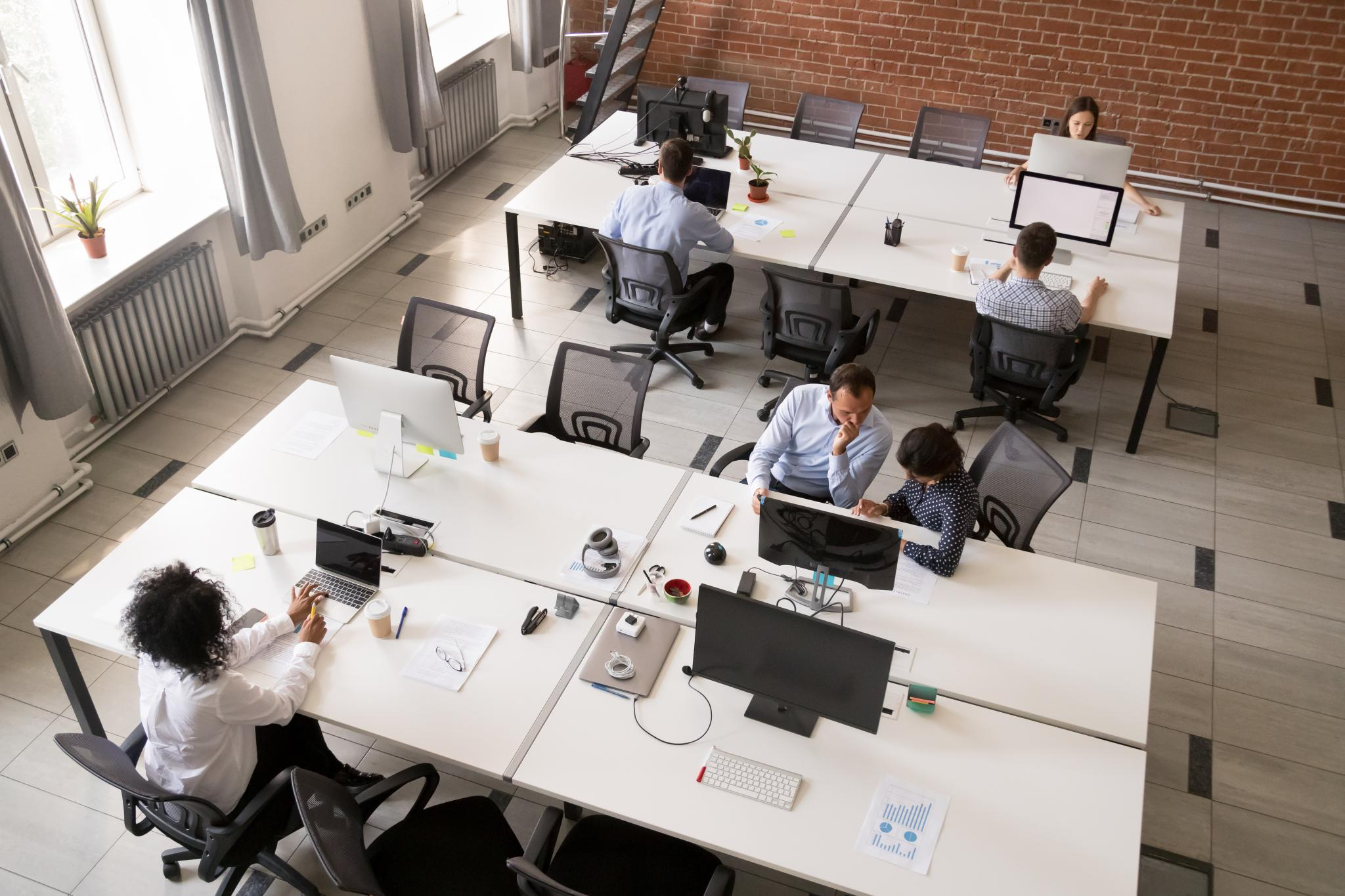 an image of a pod of desks
