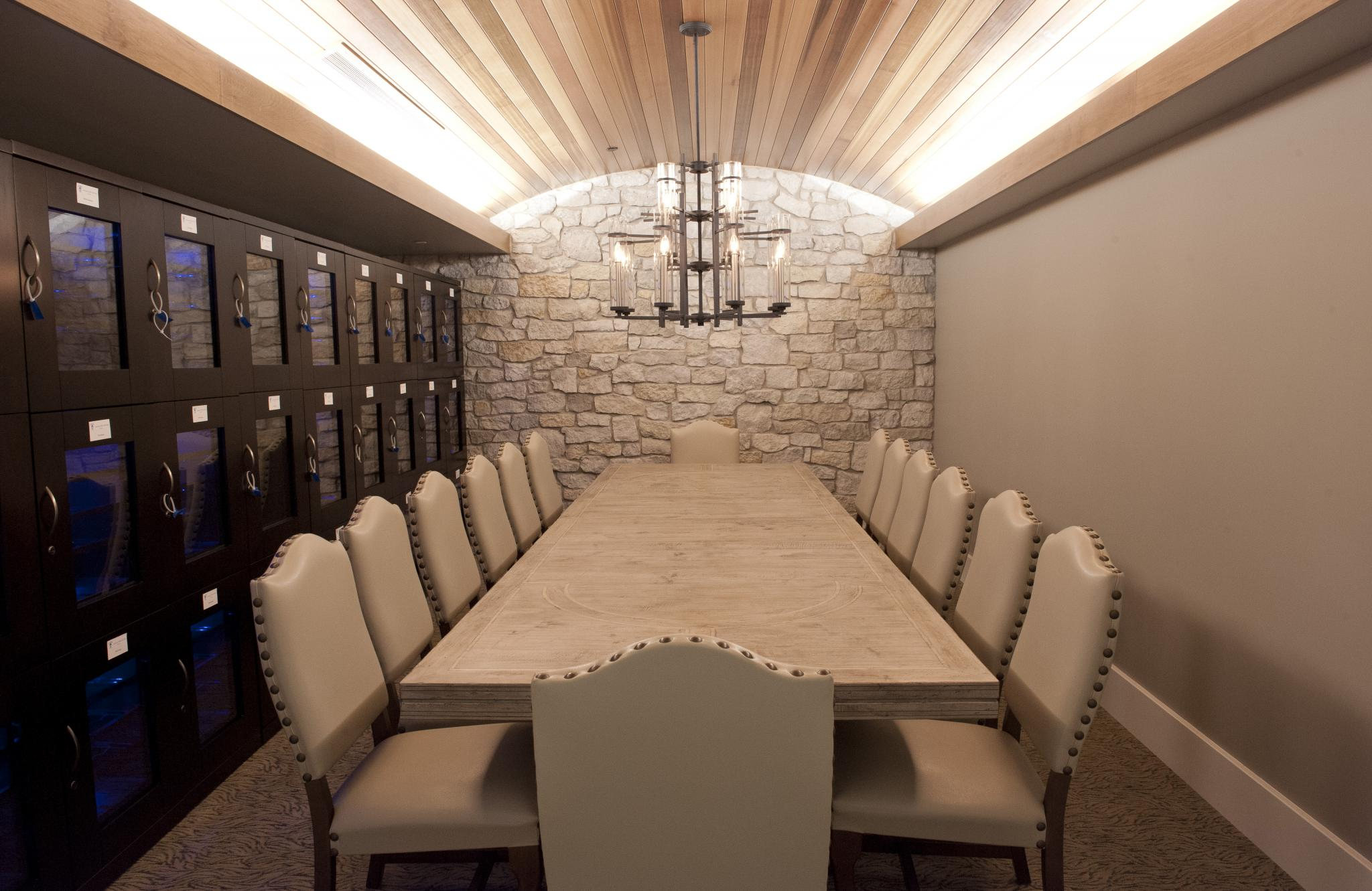 an image of a small conference room with wine cooler